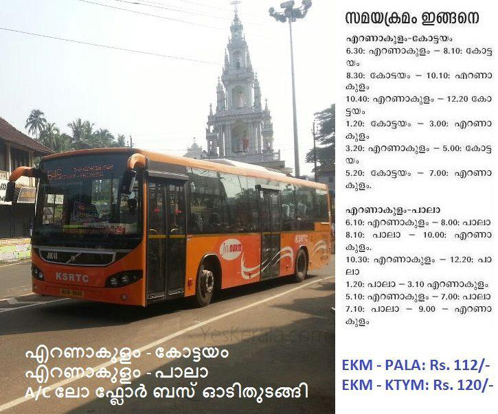KSRTC Bus Timings for Cochin Pala Volvo
